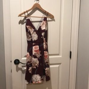 Maroon Strappy Dress with Flower Print